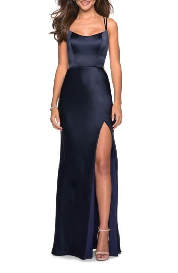 d48768efb2 La Femme Strappy Back Fitted Satin Evening Dress   Most Stylish ...