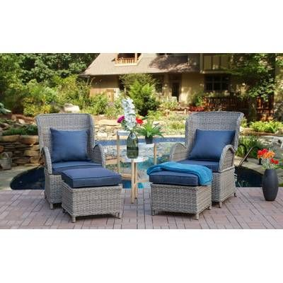 Silke Patio Chair With Cushion With Ottoman With Images Gray