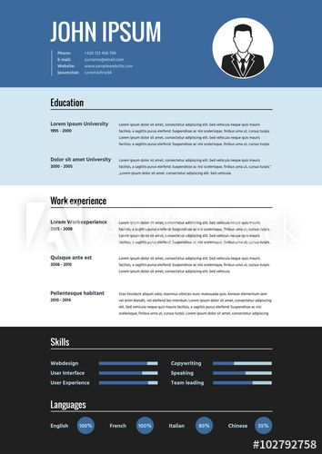 Cv Resume Template Vector Graphic Design Layout  Buy This Stock