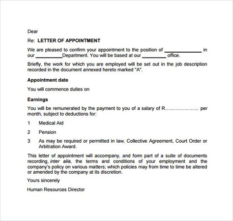 Appointment Letter Free Download PDF swity Pinterest - appointment letters in doc