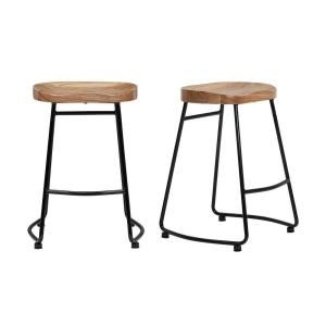 Stylewell Stylewell Black Metal Bar Stool With Back And Natural