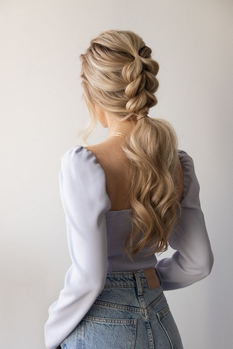 Today's how to hair tutorial is an Easy Braided Ponytail Hairstyle for Spring 2021! The pull-through braid is great for medium hair - long hair hair lengths. And it is the perfect wedding, bridal, bridesmaid hairstyle, and a simple way to elevate your everyday hair.