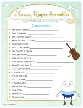 Nursery Rhyme Scrambles - baby shower game