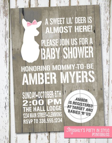 Hunting Theme Sweet Lil' Deer Baby Shower Invitation by Meghilys