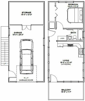 Details About 16x36 House 1 Bedroom Pdf Floor Plan 744 Sq