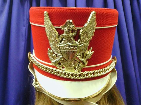3bb2dce175a MARCHING BAND UNIFORM SHAKO HAT CAP BLUE GOLD SUNBURST