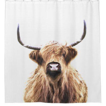 Highland Cow Scottish Animal Portrait Shower Curtain Zazzle Com