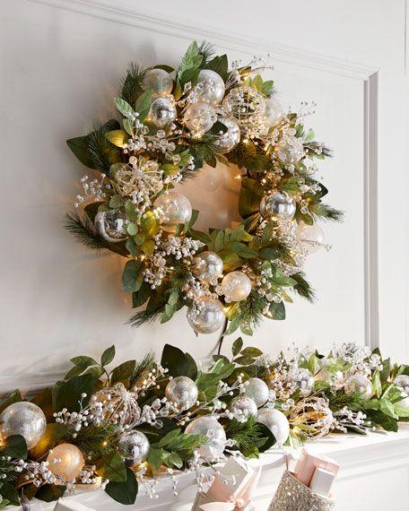 Crystal 28 Pre Lit Wreath Pre Lit Wreath Lighted Wreaths Christmas Wreaths