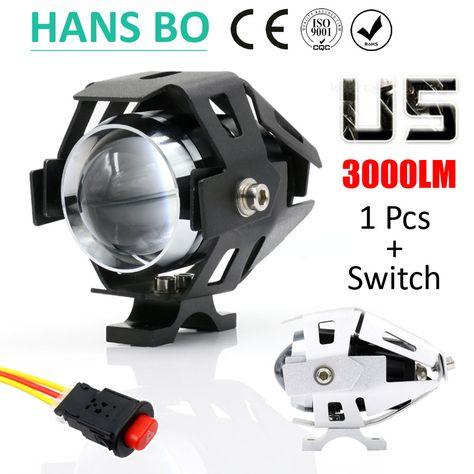 Motorcycle Cree Headlight U8 LED DRL 125W Driving Spot Fog Light Lamp Universal
