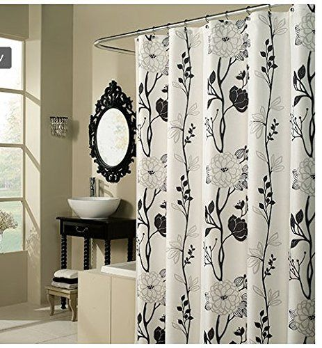 Flower Fabric Shower Curtain Polyester Fabric Bathroom Home Black White 71 Inch Springhome Shower Curtains Walmart White Shower Curtain Modern Shower Curtains