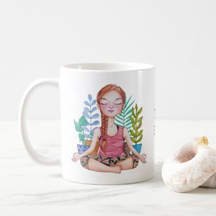 #Meditating Girl With Plants Coffee Mug - #drinkware #cool #special