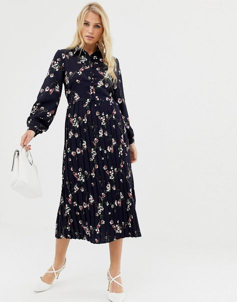 8aa932c231805 Liquorish floral mid shirt dress with pleated skirt in 2018 ...