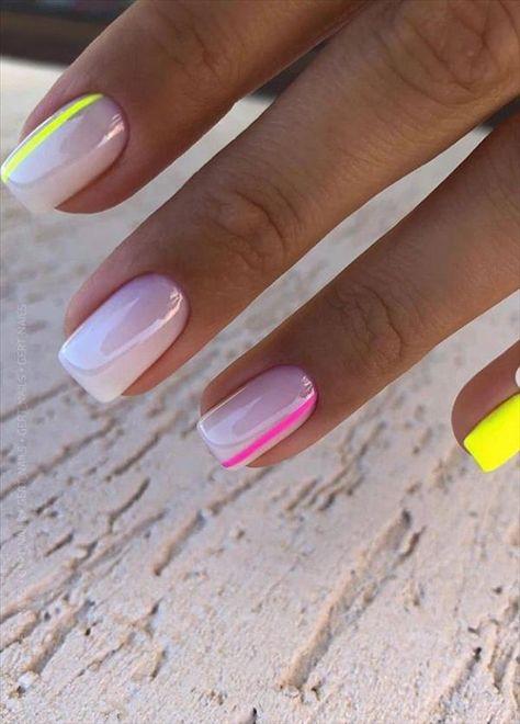 Short Square Acrylic Nails, Purple Acrylic Nails, Short Square Nails, Acrylic Nails Coffin Short, Summer Acrylic Nails, Yellow Nails, Pink Nails, Red Tip Nails, Short Gel Nails