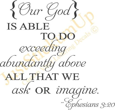 Ephesians 3:20 Our God Is Able Christian Decor, Bible Verse Wall Art, Religious Home Decor Wall Art Words Vinyl Lettering Decal