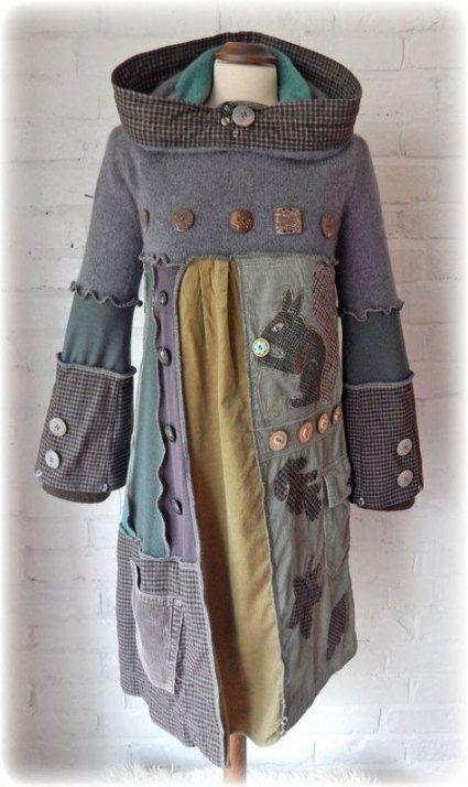Pullover in the elf/'s look with corner hood ***SM