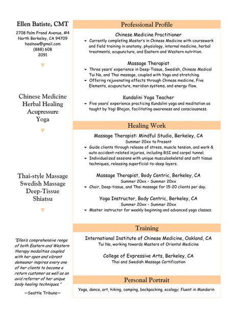 Image result for massage therapist resume Massage Therapy 1 A\P - massage therapy resumes