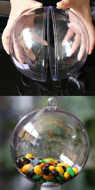 La boule de Noël transparente en plastique à remplir, version