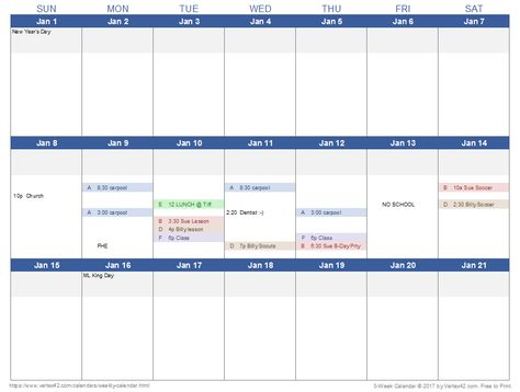 Download A 3 Week Calendar Template From Vertex42 Com Excel Calendar Template Weekly Planner Template Weekly Calendar Template