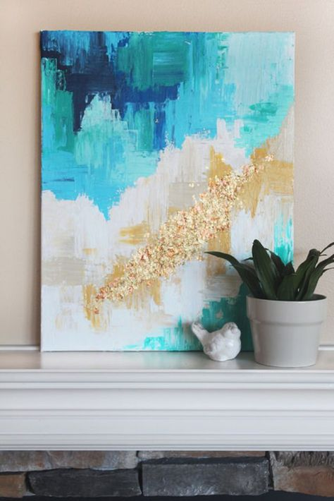 76 brilliant diy wall art ideas for your blank walls cuadro casa diy wall art ideas and do it yourself wall decor for living room bedroom bathroom teen rooms diy abstract art with a golden touch cheap ideas for solutioingenieria Images