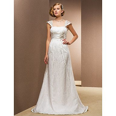 A-line Princess Square Floor-length Wedding Dress With Removable Straps – CAD $ 335.72