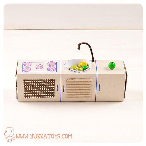 Cucinetta per la casa delle bambole di cartone / how to make a tiny kitchen for a doll's gouse