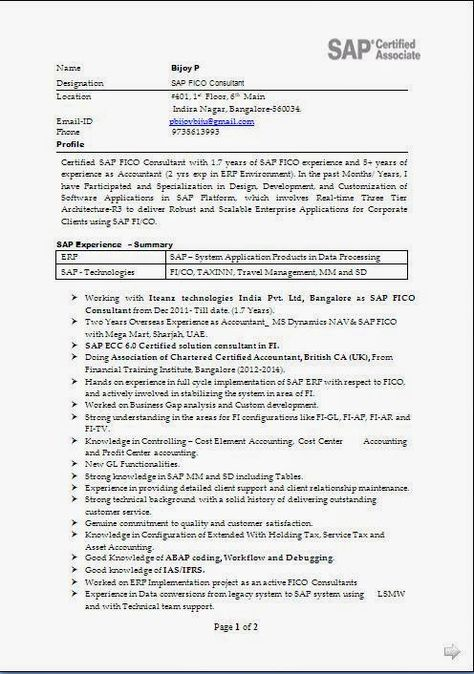 curriculum vitae template download Sample Template Example - sap fico resume sample