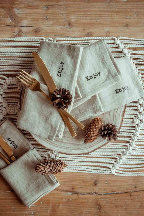 These stonewashed, super soft minimalist linen napkins will elevate any tablescape - epecially in Beige color with minimalistic print.