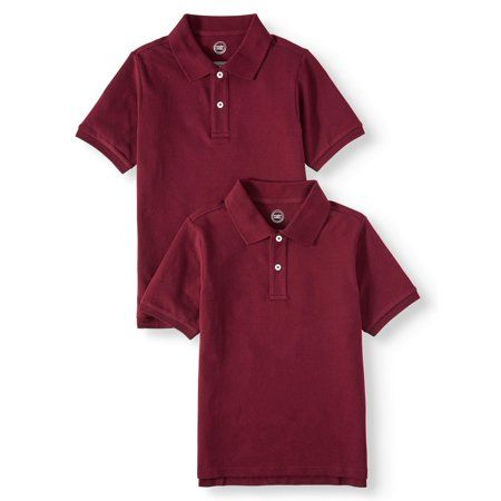 2 Pack Of Boys School Red Polo Shirt