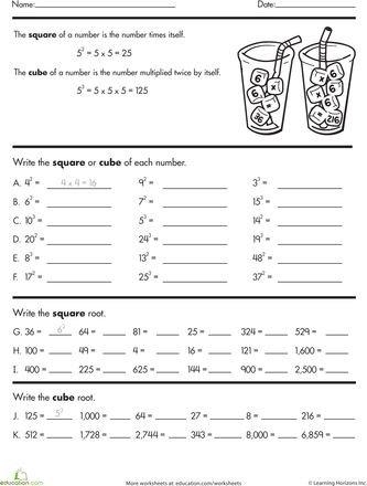 Building Exponents Squares Cubes And Roots Worksheet Education Com Exponent Worksheets Square Roots Exponents