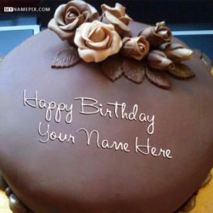 Write name on Roses Chocolate Happy Birthday Cake Picture mian