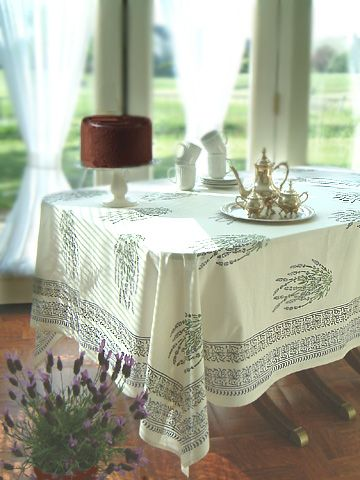 Lavender Dream French Provence Round White Table Cloths Indian