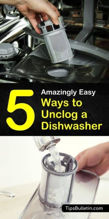If Your Dishwasher Is Emptying Into The Sink Drain You May Have A Clog Before Calling A Plumber Try Our Di Unclog Dishwasher Clean Dishwasher Cleaning Hacks