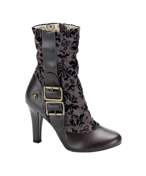 The Elegant Steampunk Boots are justly named! These brown boots are made of synthetic leather and tweed fabric. They feature brass buckles and a fleur de lis button near the heel. The Elegant Steampunk Boots have a high heel.
