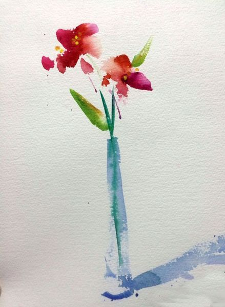 Watercolor Workshop Oriental Style Flower In Vase Floral
