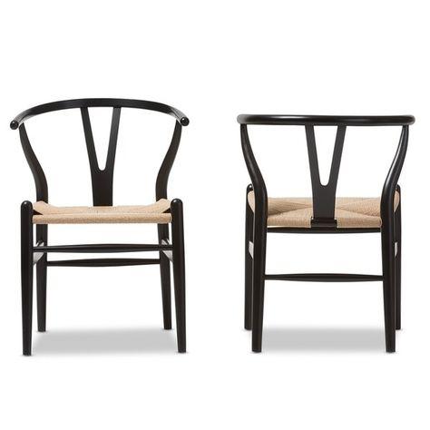 Baxton Studio Wishbone Modern Black Wood Dining Chair With Light Brown Hemp Seat 14629950 Overstock Com Solid Wood Dining Chairs Barrel Chair Dining Chairs
