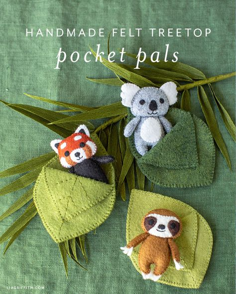 Felt Treetop Animal Pocket Pals DIY Tutorial - Lia Griffith - - Make your own felt animal pocket pals! This project includes the patterns to make a tiny koala, sloth, and red panda — each with their own little leaf. Felt Crafts Diy, Felt Diy, Handmade Felt, Cute Crafts, Fabric Crafts, Crafts For Kids, Diy Handmade Toys, Leaf Crafts, Simple Crafts
