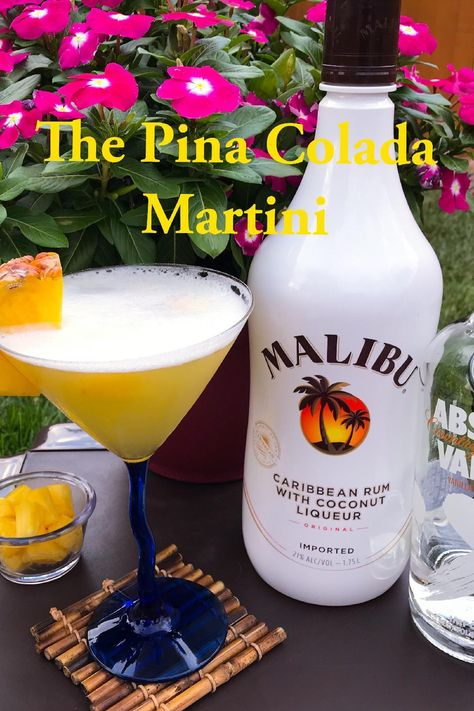 The Pina Colada Martini is a staycation in a martini glass! Made with Absolut Vanilla Vodka, Malibu Coconut Rum, Pineapple Juice, Simple Syrup, and fresh pineapple for garnish. Malibu Rum Drinks, Vanilla Vodka Drinks, Fruity Cocktails, Summer Cocktails, Drinks With Malibu Rum, Vanilla Rum, Cocktail Drinks, Coconut Martini, Coconut Rum Drinks