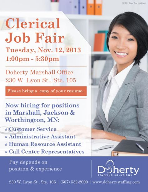 Clerical Job Fair Tuesday, Nov 12 in Marshall Hiring for - clerical experience