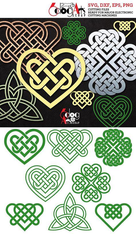 8 Celtic Hearts St. Patrics Day Digital Cut Files SVG DXF Silhouette Cricut Vector Printable Downloa