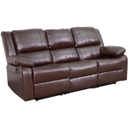 Brown Leather Sofa With Two Builtin Recliners Contemporary Design