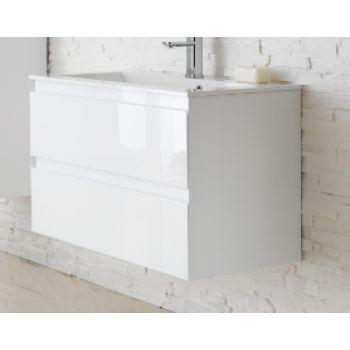 Woodstock Verona 500mm Wall Hung Vanity Unit & Basin High Gloss White vewv50
