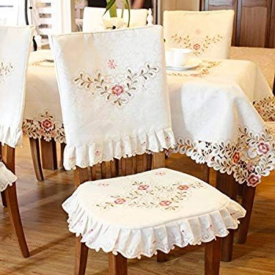 Jh Tablecloths Pink Flower Embroidered Light Yellow Spring Floral Chair Back Cover And Cushio Slipcovers For Chairs Chair Back Covers Fabric Dining Room Chairs