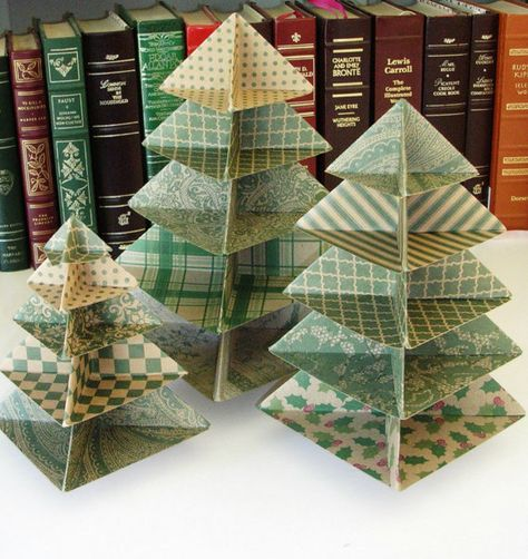Origami Christmas Tree Set in Greens   Set of by PaperImaginations, $27.00