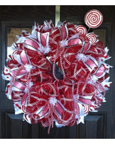 Peppermint Wreath | CraftOutlet.com Photo Contest - Door Wreaths by Trina