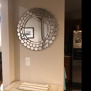 Handmade Round Wall Mirror 23 6 Silver Leaf Wood Sunburst Mirror