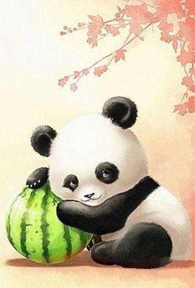 Dessin Ours Panda Chine Pasteque Noir Blanc Black