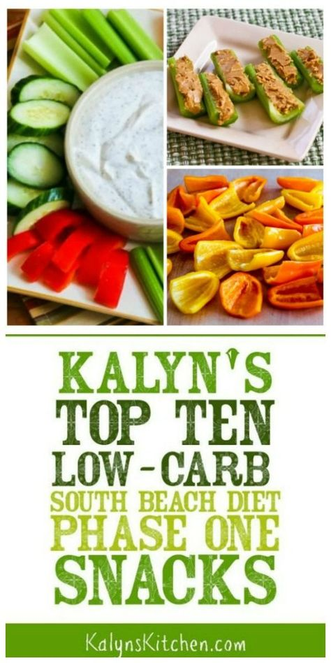 Kalyn's Top Ten Low-Carb Snacks – Kalyn's Kitchen Snacks are such an important part of a carb-conscious eating plan and this list of Kalyn's Top Ten Low-Carb (South Beach Diet Phase One) Snacks has all the snacks I eat over… Continue Reading → Ketogenic Diet Meal Plan, Diet Meal Plans, Paleo Diet, Diet Menu, Nutrition Diet Plan, Keto Meal, Low Fat Diets, Low Carb Diet, Calorie Diet