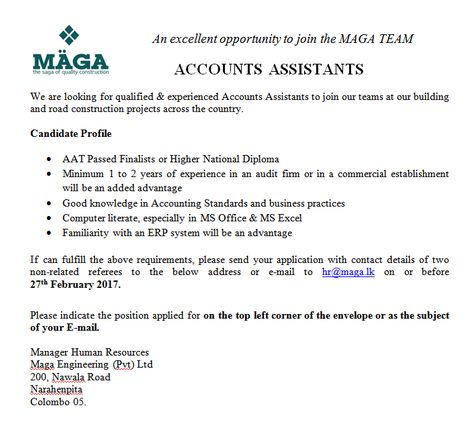 Accounts Assistants at Maga Engineering (Pvt) Ltd Career First - accounting assistant job description