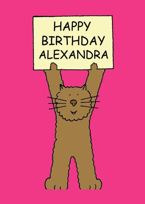 Happy Birthday Alexandra Cute Cat Card Happy Birthday Alexandra
