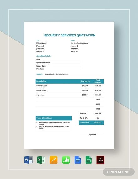 Security Services Quotation In 2020 Quotations Templates